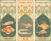 Vintage labels: fish - art nouveau frame. Vintage labels: fish vector - art nouveau frame Royalty Free Stock Photos