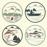 Vintage labels with fishing theme Royalty Free Stock Images