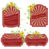 Vintage labels with flowers Royalty Free Stock Photography