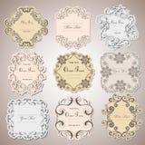 Vintage labels frames art-deco vector image. Vector damask vintage baroque scroll ornament swirl. Victorian monogram