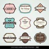 Vintage labels and frames. Vector set of calligraphic Vintage labels and frames design elements Stock Images