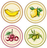 Vintage labels with fruits Royalty Free Stock Images