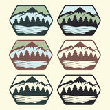 Vintage labels with lake,mountains and pines Stock Photography
