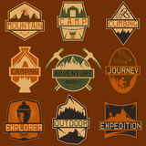 Vintage labels mountain adventure ,hiking and climbing Royalty Free Stock Photography