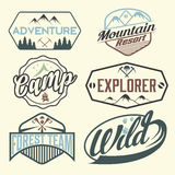 Vintage labels mountain adventure Royalty Free Stock Images