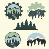 vintage labels mountain adventure royalty free illustration