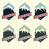 Vintage labels mountain adventure Stock Image