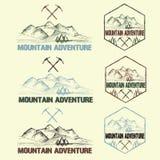 Vintage labels mountain adventure Royalty Free Stock Photos