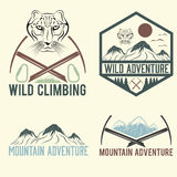 vintage labels mountain adventure with snow leopard Stock Photography
