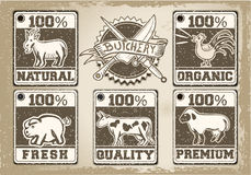 Vintage Labels Page for Butcher Shop Stock Image