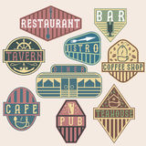 Vintage labels with places of food and drink Stock Photography