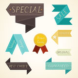 Vintage labels and ribbon product retro set Stock Image