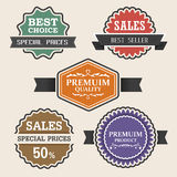Vintage labels and ribbon retro style set. Stock Image