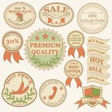 Vintage labels and ribbon retro style set. Vector design elements Royalty Free Stock Images
