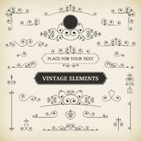 Vintage  labels and scroll elements Royalty Free Stock Photos