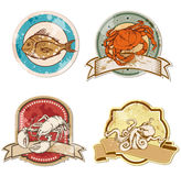 Vintage labels with seafood. Set of  vintage labels with seafood Stock Images