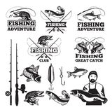Vintage labels set for fishing club. Vector logos templates royalty free illustration