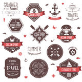 Vintage labels set. Summer and traveling collection. Vector illustration. Marine symbols Stock Photos