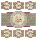 Vintage labels set (vector). Set of 7 color variations of a vintage label design; scalable and editable vector illustration (eps10 - additional format) - grunge stock illustration
