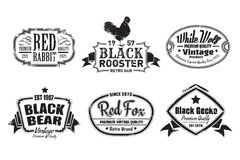 Vintage Labels. Six scalable old school retro vintage labels Royalty Free Stock Photo