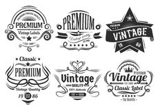 Vintage Labels. Six scalable old school retro vintage labels Stock Photo