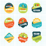 Vintage labels vector set for Back to School Day with stitching in pockets. Vintage labels vector set for Back to School Day with stitching in pockets Royalty Free Stock Photo
