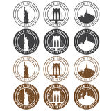 Vintage labels vector set with landmarks of New York Royalty Free Stock Images