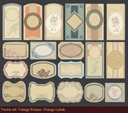 Vintage Labels for Wine and Food Stock Photography