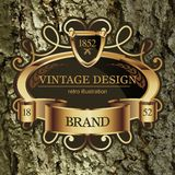 Vintage Lable frame for Business Identity. Restaurant, Hotel, Luxury Logos or Boutique. Elegant Retro Royalty Heraldic Design with Floral Elements. Vector Stock Photo