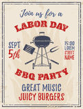 Vintage Labor Day BBQ party background. Royalty Free Stock Photo