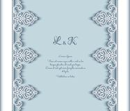 Cutout paper background with lace border pattern. Vintage lace background with cutout paper border pattern, wedding invitation or announcement template, elegant Royalty Free Stock Photos