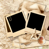 Vintage lace background with polaroid frame Royalty Free Stock Photo