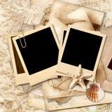Vintage lace background with polaroid frame. And seashells, family album Royalty Free Stock Photo