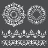 Mandala lace vector pattern and seamless lace design collection, retro ornaments design with flowers and swirls in white on gray b royalty free illustration
