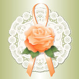 Vintage Lace Doily, Apricot Rose Royalty Free Stock Photography