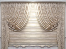 Vintage lace drapes. Vintage lace material drapes hanging on wall Stock Images