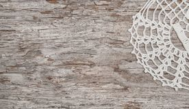Vintage lace fabric border on the old wood Stock Photo