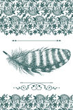 Vintage lace and feather Stock Photography