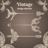 Vintage lace feathers arrows design elements Stock Images