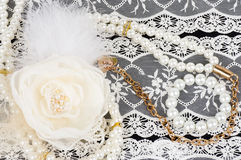 Vintage lace with flower and beads Royalty Free Stock Photography