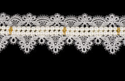 Vintage lace with flowers. On black background Royalty Free Stock Images
