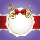 Vintage lace frame with big red bow. Vintage violet and red lace frame with bow Vector Illustration