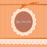 Vintage lace frame with stripes Stock Images