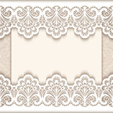 Vintage lace greeting card with paper borders Stock Photo