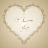 Vintage lace heart frame Royalty Free Stock Photography