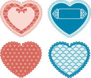 Vintage lace hearts with ornaments Stock Images