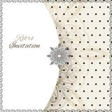 Vintage lace polka dots vector ornament card Stock Photography
