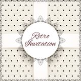 Vintage lace polka dots vector ornament card Stock Images