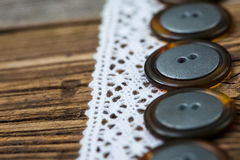 Vintage lace ribbons and buttons set Stock Photo