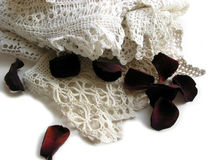Vintage lace and rose petals stock photo